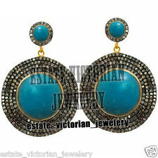 Silver Victorian Disc Earring Jewelry 6.02Cts Rose Cut Diamond Turquoise Studded