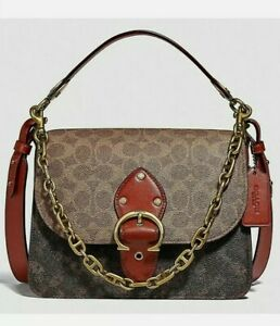 Coach Beat Shoulder Bag In Signature  With Horse & Carriage Print Brown. C 2418