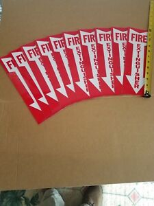 """Fire Extinguisher Sign - Lot of 10 signs - 4"""" x 12"""" Vinyl stick-on Arrow Sign"""
