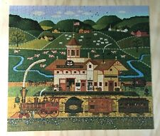"""MB 2010 Charles Wysocki 1000 piece puzzle """"Life on the Farm"""" - Complete"""