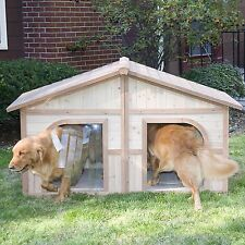 New Heated Solid Wood Dog House For Two Dogs or Large Dog Extra Large with Doors