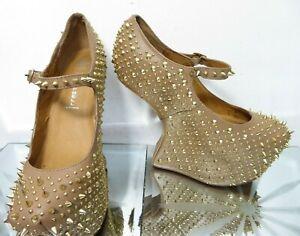 Jeffrey Campbell light brown beige Leather spike gravity heel shoes UK 7.5 EU41