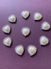 10 Heart Ivory Pearl Diamanté Flat Button Stones DIY Wedding Embellishment 21x23