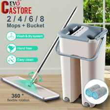 Self Cleaning Mop Bucket Hand Free Flat Floor Squeeze Drying Wash Clean Pads