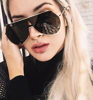 Fashion Designer Flat Top Rimless Shield Single Lens Gold One Piece Sunglasses