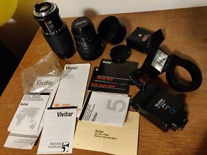 Vivitar pentax lot: wide angle A28 2.8, 2x macro converter, 80-200, macro flash