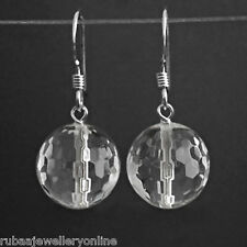 10mm FACETED GENUINE ROCK-CRYSTAL BEAD / BALL 925 STERLING SILVER DROP EARRINGS