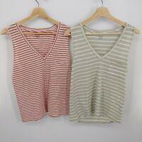 Madewell 2 Pack Whisper Cotton Stripe V-Neck Tank Top Sage & Pink Pocket Womens