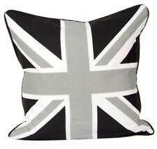 "18x18"" Union Jack ""Black Grey & White Cushion Cover"" 100% Cotton Home Sofa Decor"