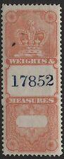 Canada VanDam # FWM33 no value red Weight & Measures Revenue - Crown Issue 1885