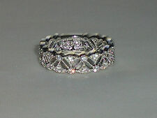 Victorian Design Ladies Hallmarked 925 Silver White Sapphire Full Eternity Ring