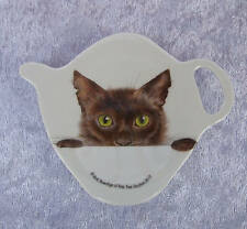 ASHDENE TEA BAG HOLDER/TEASPOON REST - PEEPING FELINES - CATS - KITTENS - CUTE