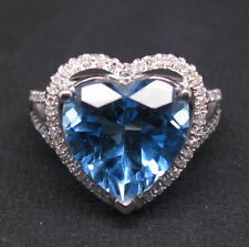 7.15ct Solid 14K White Gold Genuine Natural Diamond Blue Topaz Engagement Ring