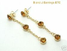 Topaz Crystals on Goldtone Chain Dangle Earrings 2 Inch