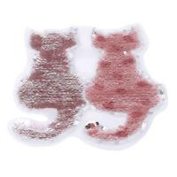 Double-side Cat Sequins Embroidered Patch Applique Iron On Patches for DIY LD