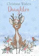 Daughter Christmas Card - Glittered - Cute reindeer in winter snow - 19 x 13cm