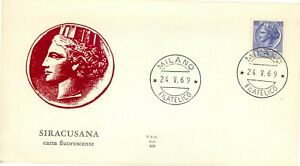 Repubblica, FDC Ala - 55 lire Siracusana (fluorescente), 24/05/1969