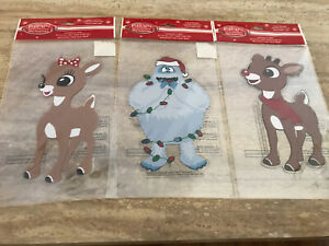 Rudolph The Red Nose Reindeer Christmas Window Gel Clings - Set of 3 New Jelz