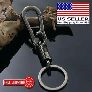 Gun Metal Black EDC Carabiner Clip Spring Keychain Key Holder Hook Key Ring