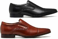 MENS JULIUS MARLOW JOINED WORK LEATHER BLACK / TAN MEN'S SLIP ON WORK SHOES