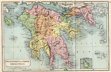 Antique Map Of Greece Peloponnesus Messenia 1907