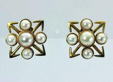 Metropolitan Museum of Art MMA 14K Gold Pearl Earrings 1985 Substantial 7.7gr