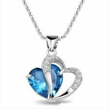 "18"" 925 Sterling Silver Heart Cut Blue Topaz Gemstone Pendent Necklace Gift Box"
