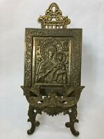 """Vintage Russian Brass Icon """"Mother of God"""" w/Brass Easel Stand, 5"""" x 6"""" (Icon)"""