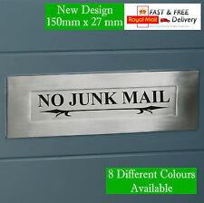 2 x NO JUNK MAIL DOOR LETTER BOX VINYL STICKER DECAL