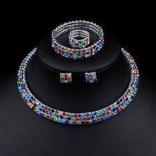 Colourful Rhinestones Crystal Necklace Earrings Bracelet Ring Bridal Jewelry Set