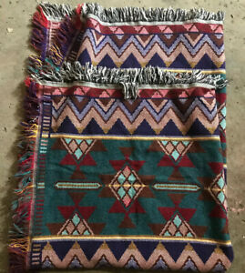 Vintage Goodwin Weavers Throw Blanket Southwest Aztec Fringe