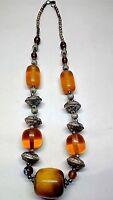 Banjara Tibetan Ethnic India Amber Brass Resin Beads Tribal Bold Necklace 206