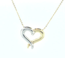 1.4g 14k Yellow Gold Dainty Two Tone Heart Necklace 18 inch Chain .5mm Thick
