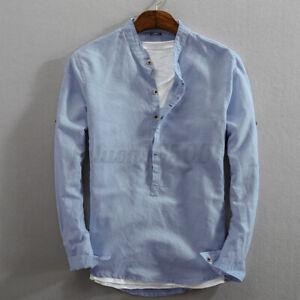 Men's Cotton Slim Fit Henley T-shirt Tops Long Sleeve Casual Button Smart Shirts
