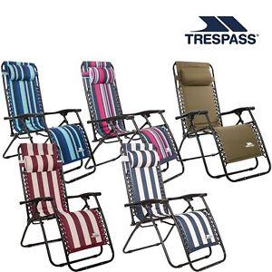Trespass Padded Sun Lounger Reclining Garden Camping Chair Glentilt
