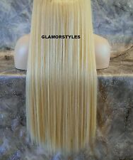 """20"""" BLONDE #613 FLIP IN SECRET CLEAR WIRE HAIR PIECE EXTENSIONS NO CLIP ON/IN"""