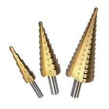 3x HSS Broca escalonada cortadora 4-12/20/32mm de acero titanio taladro Drill