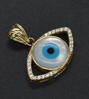 14k Solid Gold Evil Eye Luck Mother-Of-Pearl Charm cz Pendant +18 Chain #ga117