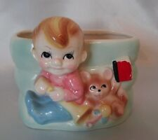 New listing Vintage Nursery Baby Boy with Teddy Bear Toys Book Planter Newborn Baby Gift 3