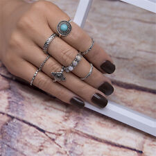 7pcs Boho Opal Turquoise Finger Knuckle Ring Band Midi Rings Stacking Ring Set