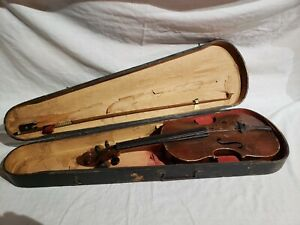 VINTAGE GERMAN WOODEN VIOLIN AND CASE RESTORATION