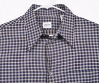 Armani Collezioni Men's Sz Medium Blue Plaid Viscose Cotton Blend Shirt