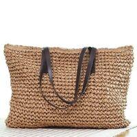 Ladies Tote Bags Straw Rattan Wicker Handbag Fashion Holiday Beach Crochet Beach