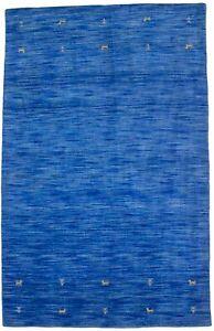 Contemporary Solid Blue Tribal Hand-Loomed 4X6 Oriental Rug Floor Decor Carpet