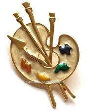 Artist Palette Pin Brooch Art Graduation Gift Paint Brush Gold Plated Enamel