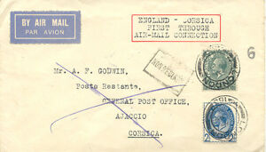 GB 1929 First Flight French Air Union's acceptance British mail LONDON AJACCIO