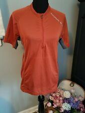 Salomon Women's Medium Running Cycling Short Sleeve Shirt Zip Active Top Orange