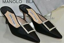 New Manolo Blahnik MAYFLOWER Satin Black Slides Mules Jeweled Shoes 38