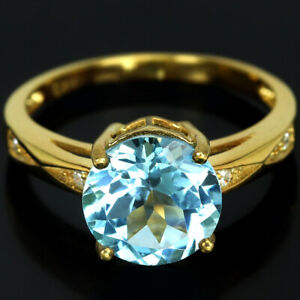 GENUINE AAA SWISS BLUE TOPAZ ROUND & WHITE CZ STELRING 925 SILVER RING SIZE 7