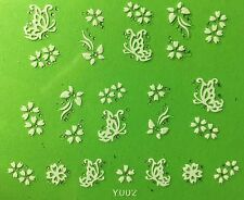 Nail Art 3D Decal Stickers White Butterflies & Flowers Y002